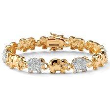 Cubic Zirconia Elephant-Link Charm Bracelet