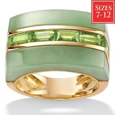 18k Gold/Silver Jade/Peridot Fashion Ring