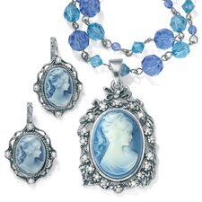 Silvertone 2 Piece Cameo Jewelry Set