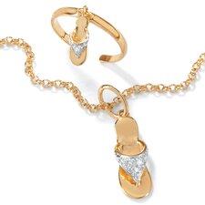 18k Gold/Silver Ankle Bracelet