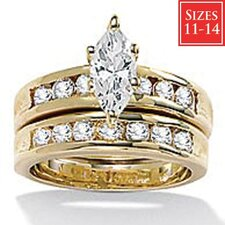 Gold Plated 2 Piece Cubic Zirconia Wedding Ring Set