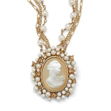 Goldtone Cameo Lucite Pendant/Necklace