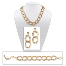 Goldtone Curb-Link Jewelry Set