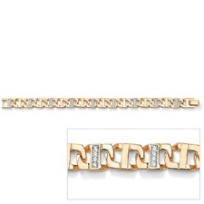Gold Plated Men's Cubic Zirconia Bracelet