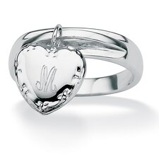 <strong>Palm Beach Jewelry</strong> Silvertone Personalized Heart Charm I.D. Ring