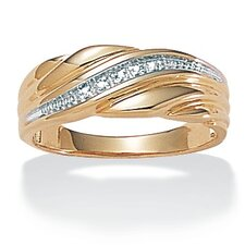 Sterling Silver Men's Diamond Accent Wedding Band