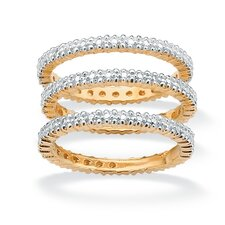 <strong>Palm Beach Jewelry</strong> 18k Gold/Silver Diamond Accent Bands (Set of 3)