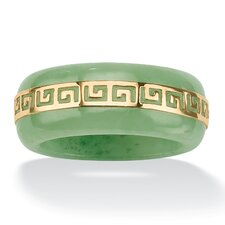 "Gold Green Jade ""Greek Key"" Ring"