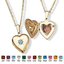 <strong>Palm Beach Jewelry</strong> Goldtone Simulated Birthstone Heart Locket