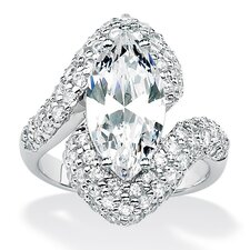 <strong>Palm Beach Jewelry</strong> Platinum/Silver Diamond Ultra Cubic Zirconia Ring