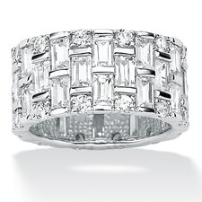 Platinum/Silver Cubic Zirconia Eternity Band