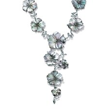 Silvertone Black Mother-of-Pearl Necklace