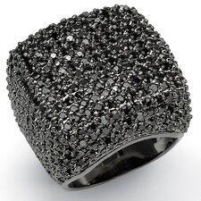 <strong>Palm Beach Jewelry</strong> Black Ruthenium/Silver Black Cubic Zirconia Dome Ring