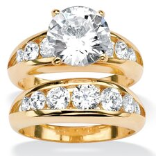 Gold Plated Round Round Channel-Set Cubic Zirconia Wedding Ring Set