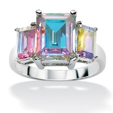 Sterling Silver Aurora Borealis Cubic Zirconia Ring