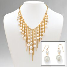 14k Gold Plated Simulated Necklace and Pierced Earrings Set