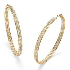 <strong>Palm Beach Jewelry</strong> 14k Gold Plated Crystal Inside-Out Hoop Earrings
