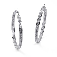 <strong>Palm Beach Jewelry</strong> Silvertone Crystal Inside-Out Hoop Earrings