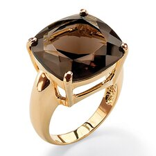 Gold Plated Multi Faceted Smoky Quartz Ring