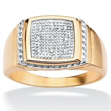 18k Gold/Silver Men's Diamond Accent Ring