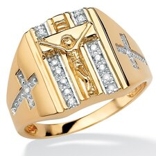18k Gold/Silver Men's Diamond Crucifix/Cross Ring
