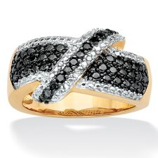 <strong>Palm Beach Jewelry</strong> 18k Gold/Silver Black and White Diamond Ring