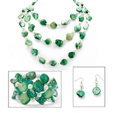 Green Shell and Simulated Cultured Pearl Jewelry Set