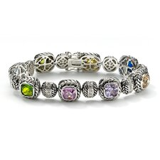 Silvertone Multi-Colored Cubic Zirconia Bracelet