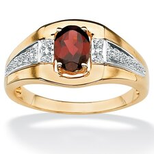 18k Gold/Silver Men's Garnet and Diamond Accent Ring