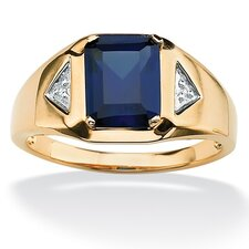 <strong>Palm Beach Jewelry</strong> 18k Gold/Silver Men's Lab-Created Sapphire Ring
