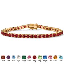 Gold Plated Round Birthstone Tennis Bracelet