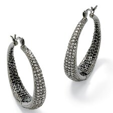 Black Ruthenium Black and White Cubic Zirconia Pierced Earrings