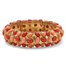 14k Gold-Plated Simulated Coral Stretch Bracelet