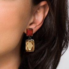 Goldtone Champagne/Amber Lucite Earrings