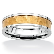 Stainless Steel Hammered-Style Tutone Wedding Band