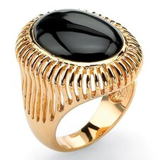 Gold Plated Oval Shaped Onyx Ring