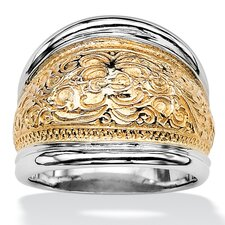 Sterling Silver/Gold Milgrain Scroll Cigar Band Ring