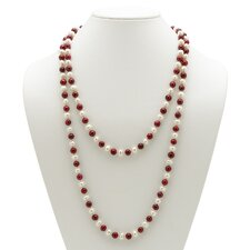 Ruby Red and White Cultured Pearl Necklace