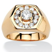 Gold Plated Men's Cubic Zirconia Hexagon Ring