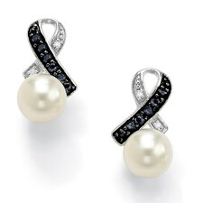 Platinum/Silver Freshwater Cultured Pearl/Sapphire Earrings