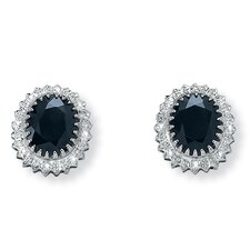 Platinum/Silver Midnight Blue Sapphire Earrings