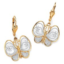Gold Plated Filigree Butterfly Pierced Earrings