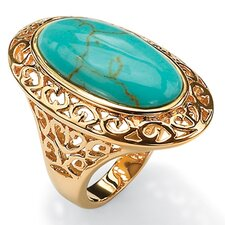 Gold Plated Simulated Turquoise Filigree Ring