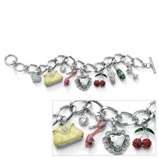 Silvertone Crystal Uptown Girl Charm Bracelet