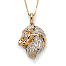 18k Gold/Silver Diamond Accent Lion Head Pendant