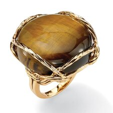 Gold Plated Channel-Set tiger's-Eye Ring
