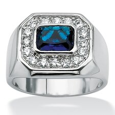Silvertone Men's Blue Glass and Cubic Zirconia Ring
