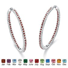 Silvertone Birthstone Inside-Out Hoop Earrings