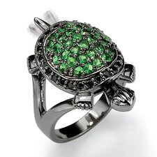 Black Ruthenium Green Glass/Cubic Zirconia Turtle Ring
