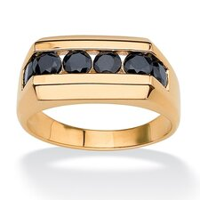 18k Gold/Silver Men's Channel-Set Sapphire Ring